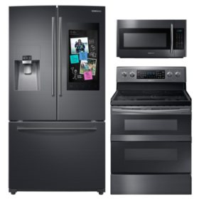 Samsung 3pc Kitchen Suite with Family Hub™ 3-Door Refrigerator in  Black Stainless Steel