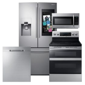 Samsung 4pc  Kitchen Suite with Family Hub™ 3-Door Refrigerator in  Stainless Steel