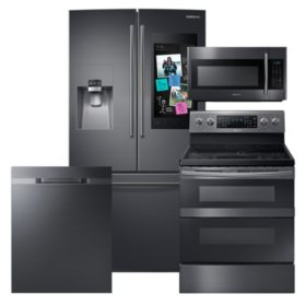 Samsung 4pc  Kitchen Suite with Family Hub™ 3-Door Refrigerator in  Black Stainless Steel
