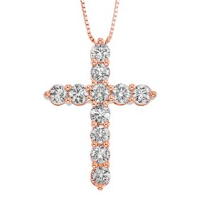 2.00 CT. T.W. Diamond Cross Pendant in 14K Gold (I, I1)