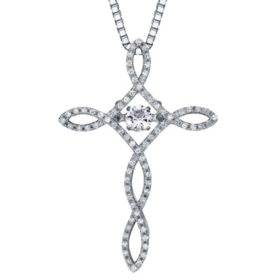 Dancing Created White Sapphire and 0.15 CT. T.W. Diamond Cross Pendant in Sterling Silver