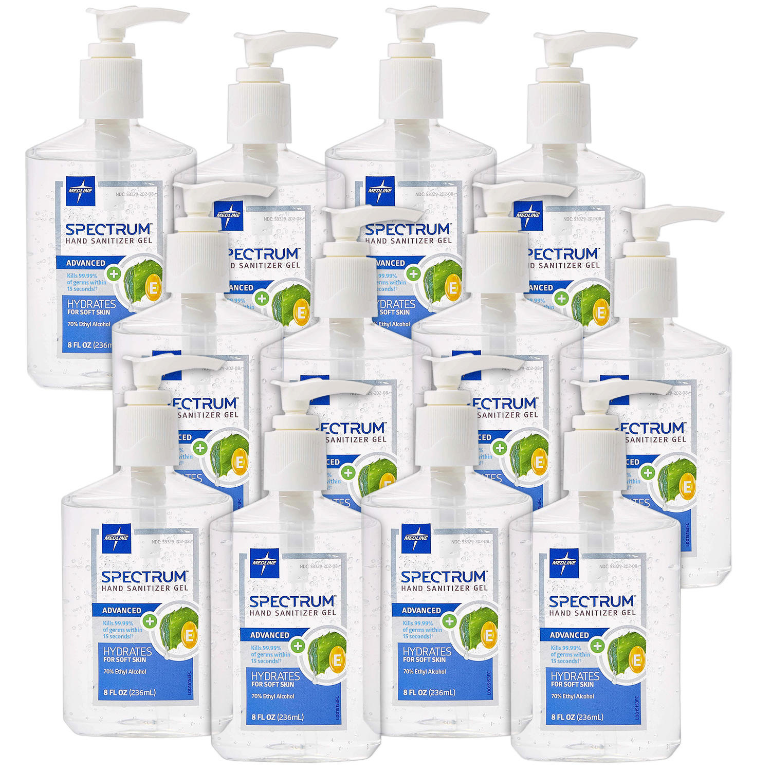 12-Pack Medline Spectrum Advanced Hand Sanitizer Gel Hand-Pump Bottles