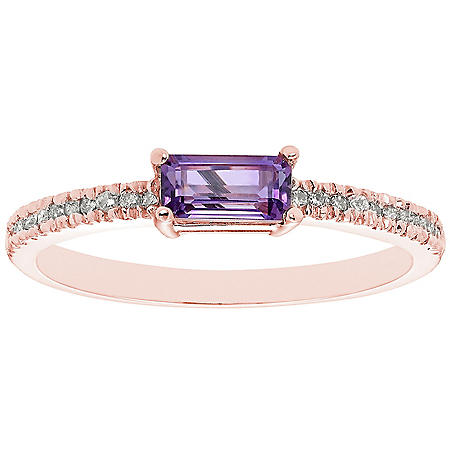 Amethyst and 0.10 CT. T.W. Diamond Ring in 14K Gold