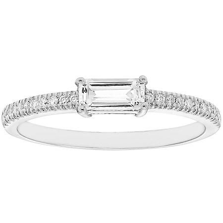 Lab White Sapphire and 0.10 CT. T.W. Diamond Ring in 14K Gold