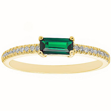 Lab Emerald and 0.10 CT. T.W. Diamond Ring in 14K Gold