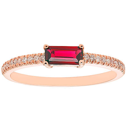 Lab Ruby and 0.10 CT. T.W. Diamonds in 14K Gold
