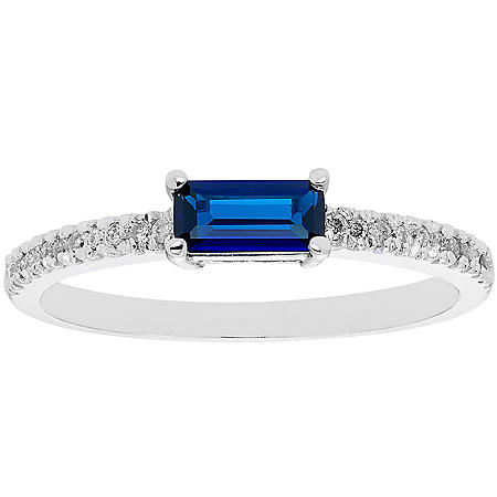 Lab Blue Sapphire and 0.10 CT. T.W. Diamond Ring in 14K Gold