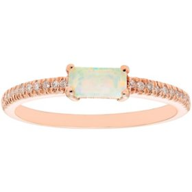Lab Opal and 0.10 CT. T.W. Diamond Ring in 14K Gold