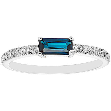 London Blue Topaz and 0.10 CT. T.W. Diamond Ring in 14K Gold