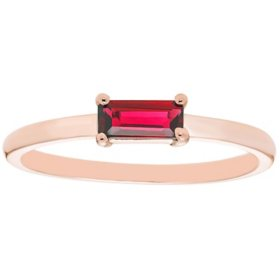 Lab Ruby Baguette Ring in 14K Gold