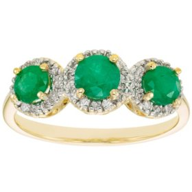 3 Stone Genuine Emerald and 0.19 CT. T.W. Diamond Ring in 14K Gold