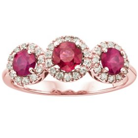 3 Stone Genuine Ruby and 0.19CT. T.W. Diamond Ring in 14K Gold