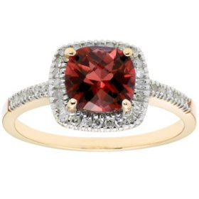 Garnet and 0.18 CT. T.W. Diamond Ring in 14K Gold
