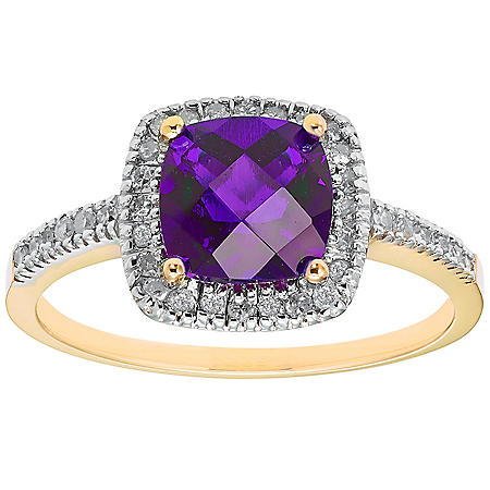 Amethyst and 0.18 CT. T.W. Diamond Ring in 14K Gold