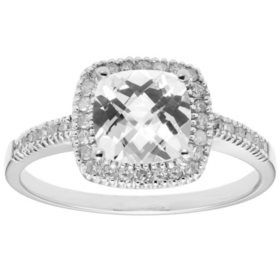 Lab White Sapphire and 0.18 CT. T.W. Diamond Ring in 14K Gold