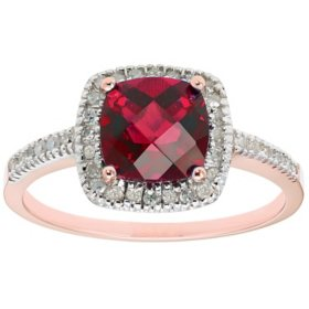Lab Ruby and 0.18 CT. T.W. Diamonds in 14K Gold