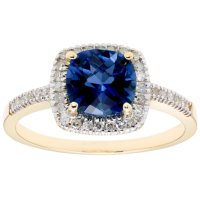 Lab Blue Sapphire and 0.18 CT. T.W. Diamond Ring in 14K Gold