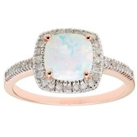 Lab Opal and 0.18 CT. T.W. Diamond Ring in 14K Gold