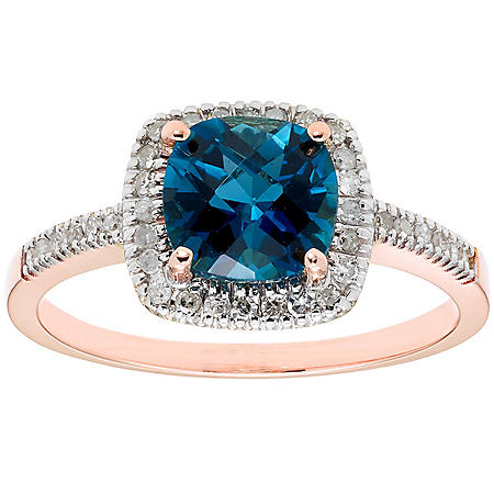 London Blue Topaz and 0.18 CT. T.W. Diamond Ring in 14K Gold