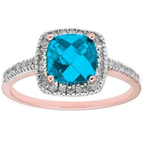 Blue Topaz and 0.18 CT. T.W. Diamond Ring in 14K Gold