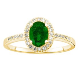 Genuine Emerald and 0.15 CT. T.W. Diamond Ring in 14K Gold