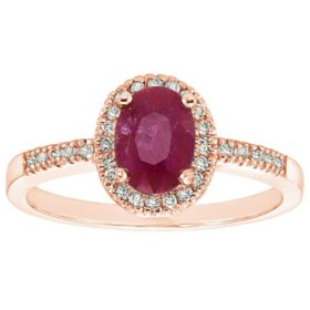 Genuine Ruby and 0.15 CT. T.W. Diamond Ring in 14K Gold
