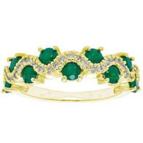1.0 CT Genuine Emerald and 0.15 CT. T.W. Diamond Band in 14K Gold