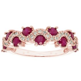 1.3 CT Genuine Ruby and 0.15 CT. T.W. Diamond Band in 14K Gold