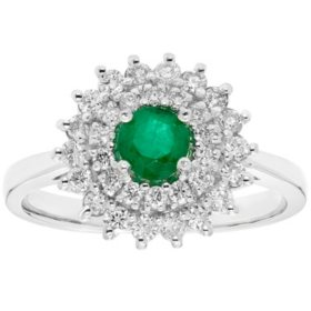 Genuine Emerald and 0.50 CT. T.W. Diamond Ring in 14K Gold