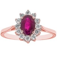 Genuine Ruby and 0.23 CT. T.W. Diamond Ring in 14K Gold
