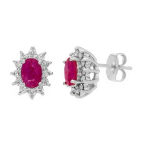 Genuine Ruby and 0.30 CT. T.W. Diamond Earrings in 14K Gold