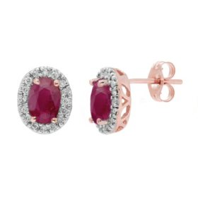 Genuine Ruby and 0.16 CT. T.W. Diamond Earrings in 14K Gold