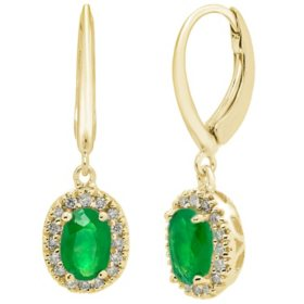 Genuine Emerald and 0.16 CT. T.W. Diamond Earrings in 14K Gold