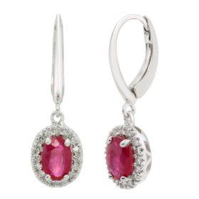 Genuine Ruby and 0.16 CT. T.W. Diamond Earrings in 14K Gold