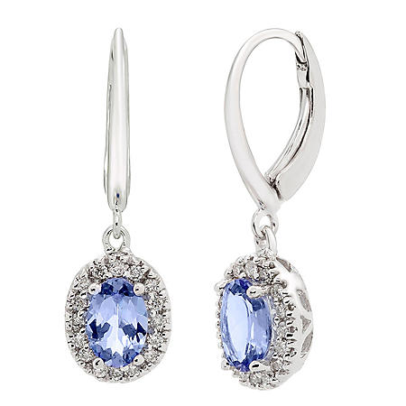 Genuine Tanzanite and 0.16 CT. T.W. Diamond Earrings in 14K Gold