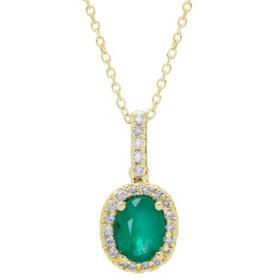 Genuine Emerald and 0.11 CT. T.W. Diamond Pendant in 14K Gold