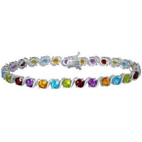 Multi Gemstone Bracelet in Sterling Silver
