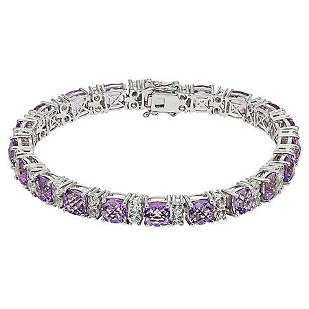 19 CT. T.W. Amethyst and Lab White Sapphire Bracelet in Sterling Silver