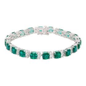 18 CT. T.W. Lab Emerald and Lab White Sapphire Bracelet in Sterling Silver