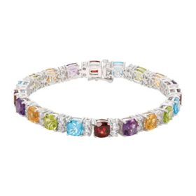 Multi Gemstone and Lab White Sapphire Bracelet in Sterling Silver