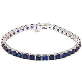 12 CT. T.W. Lab Blue Sapphire Bracelet in Sterling Silver