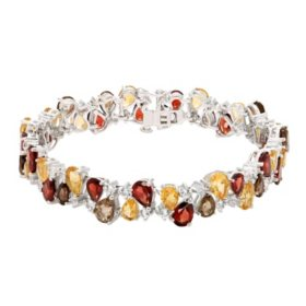 29.15 CT. Garnet, Citrine, Smokey Quartz and Created White Sapphire Bracelet in Sterling Silver