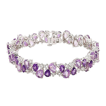 28.6 CT T.W. Amethyst, Rose Quartz and Created White Sapphire Bracelet in Sterling Silver