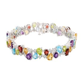 43.58 CT.  T.W. Multi Gemstone and Created White Sapphire Bracelet in Sterling Silver