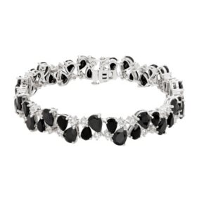 29.70 CT. Onyx and Created White Sapphire Bracelet in Sterling Silver