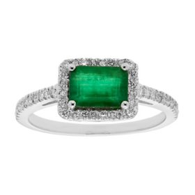 Genuine Emerald and 0.23 CT. T.W. Diamond Ring in 14K Gold