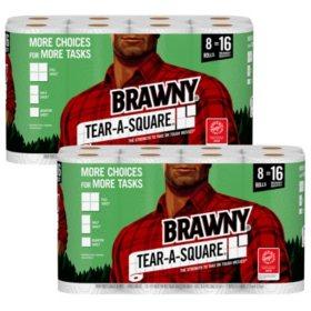 Brawny Tear-A-Square Paper Towels, Quarter Size Sheets (8 rolls per pk., 2 pk.)
