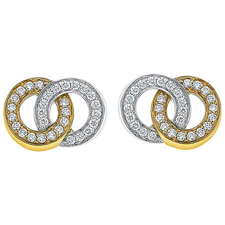 0.90 CT. T.W. Diamond Double Circle Earrings in 14K Two-Tone Gold