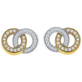 0.90 CT. T.W. Diamond Double Circle Earrings in 14K Two-Tone Gold