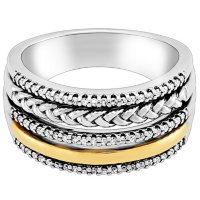 0.26 CT. T.W. Multi Row Diamond Ring in Sterling Silver and 14K Yellow Gold